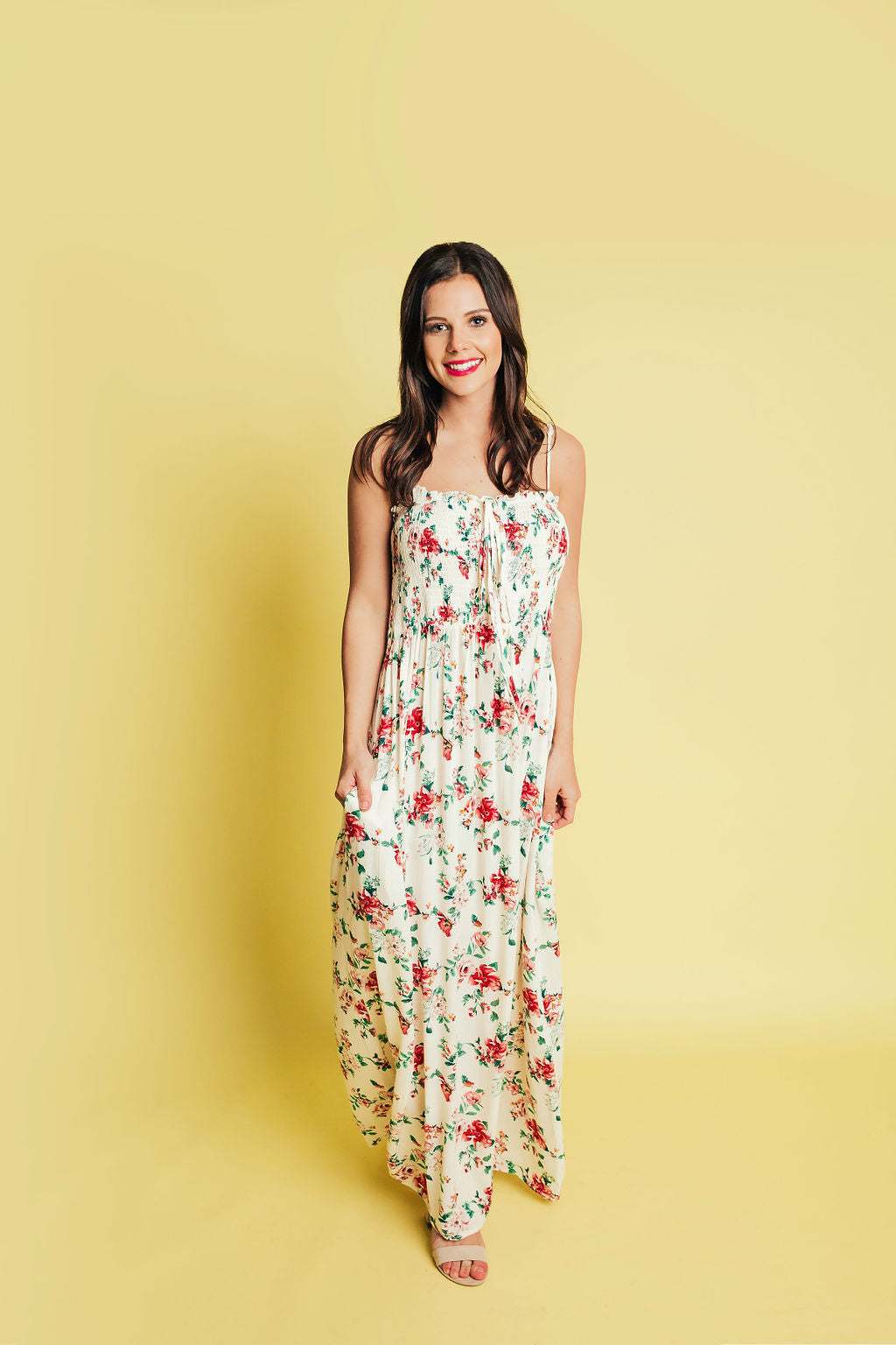 So This Is Love Smocked Floral Maxi - Ivory