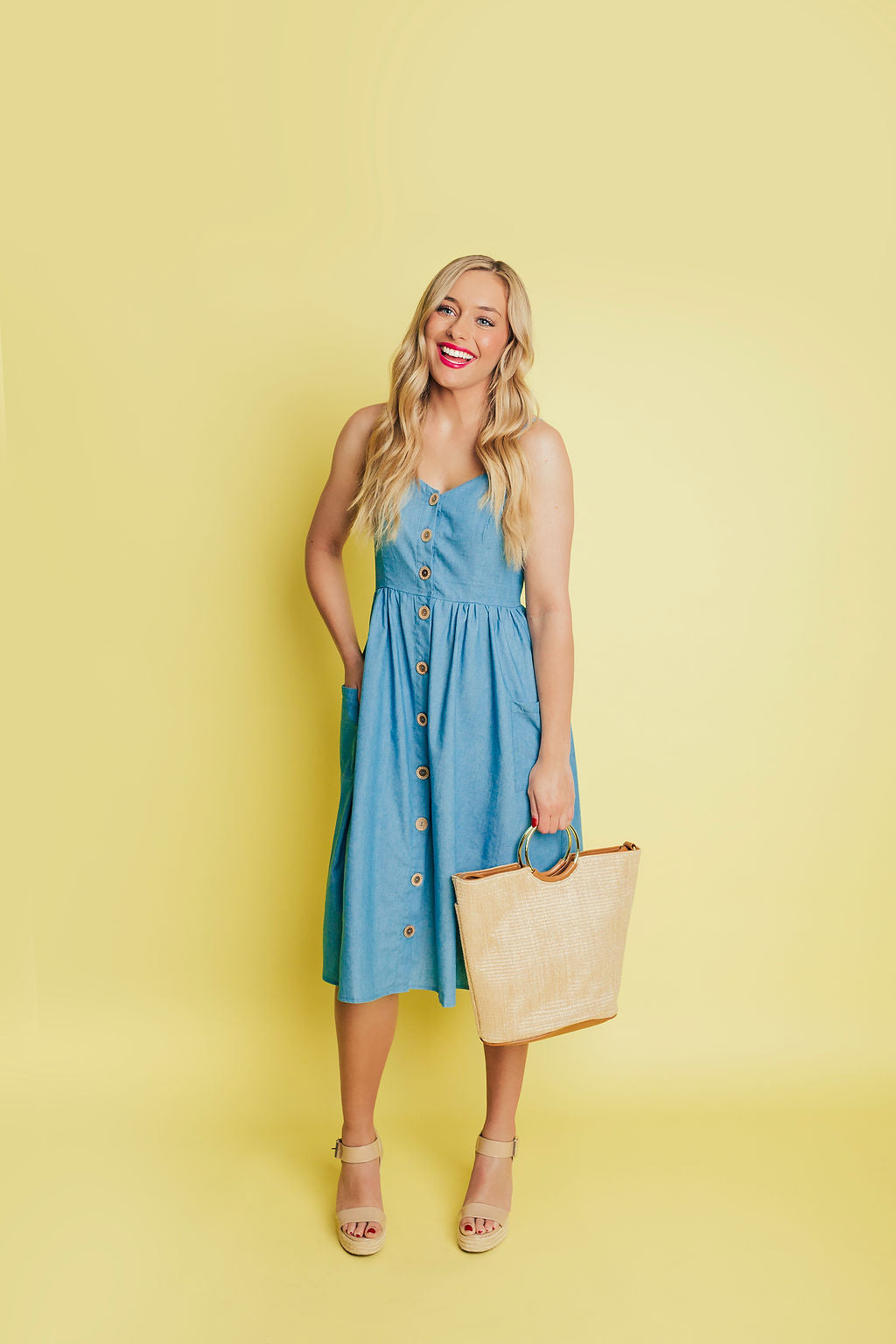 Anniston Button Up Chambray Dress