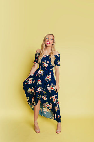 Flirty Floral Dress - Navy