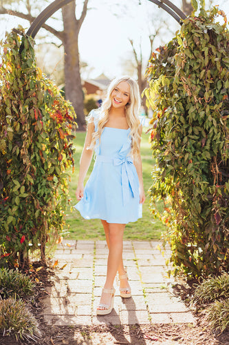 Ruffle Girl Dress- Blue