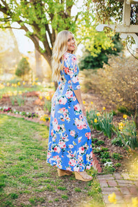 Fearless Floral Maxi Dress- Blue