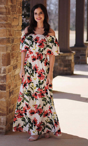 Costa Rica Off The Shoulder Floral Maxi