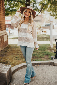 Gather Together Stripe Sweater-Taupe