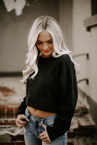 Cropped Crew Sweatshirt- Black