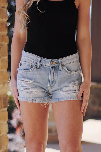Evann Distressed Denim Shorts