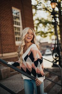 Crazy In Love Argyle Sweater- Ivory