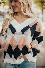 Load image into Gallery viewer, Crazy In Love Argyle Sweater- Ivory