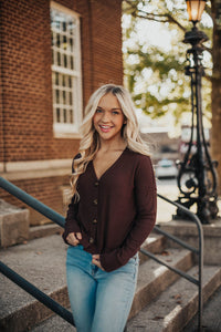 First Love Button Top - Dark Burgundy