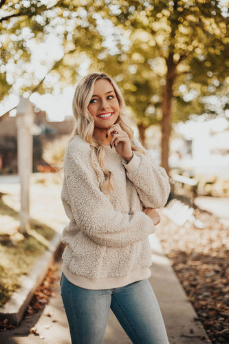 Snuggle Up Fuzzy Sweatshirt- Ivory