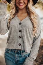 Load image into Gallery viewer, First Love Button Top - Heathered Grey