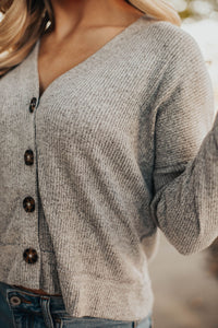 First Love Button Top - Heathered Grey