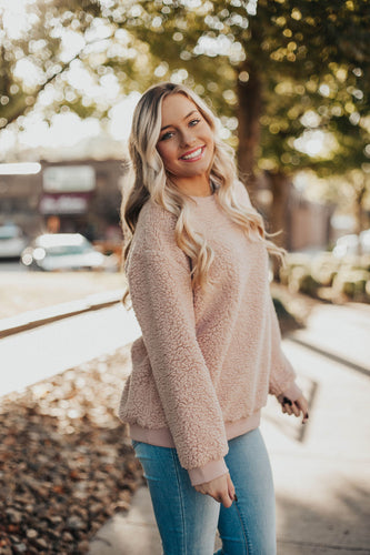 Snuggle Up Fuzzy Sweatshirt- Rose
