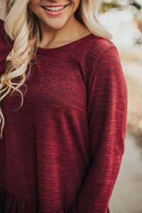 Sweet As Pie Peplum Sweater-Burgundy