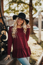 Load image into Gallery viewer, Sweet As Pie Peplum Sweater-Burgundy