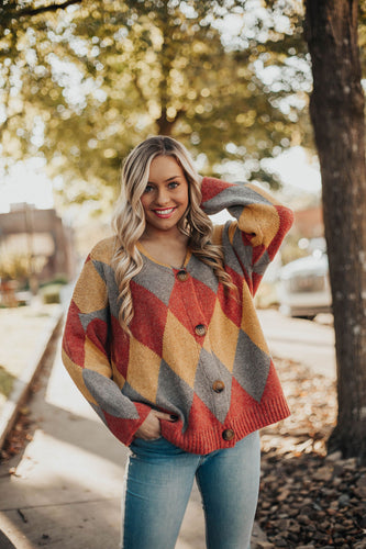 Crush On You Argyle Cardigan Sweater- Camel