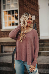 Just Between Us Thermal Knit Top- Mauve