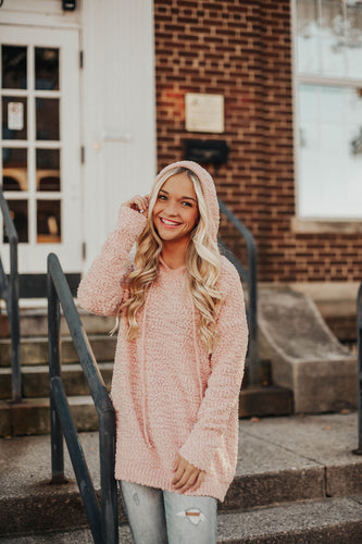 Cozy On Up Hooded Sweater - Blush