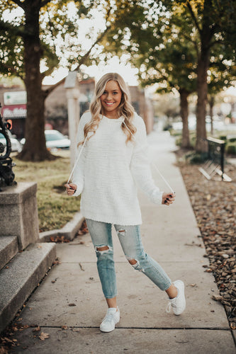 Cozy On Up Hooded Sweater - White