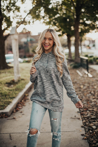 Feel Good Hoodie- Heathered Grey