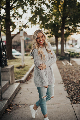 Cozy On Up Hooded Sweater - Grey