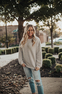 Snuggle Up Fuzzy Sweatshirt-Grey