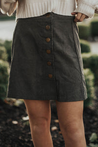 All About The Corduroy Skirt- Olive