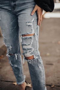 Parker Super High Rise Distressed Denim