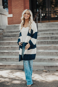 Cameron Stripe Pocketed Cardigan