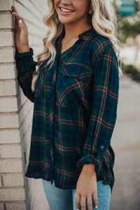 Roll Up Your Sleeves Plaid Button Down - Hunter Green