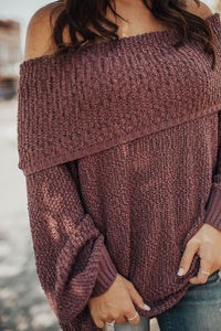 Up for Anything Knit Sweater-Mauve