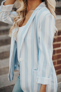 Social Girl Stripe Blazer- Blue