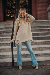 Lovesick Distressed Knit Sweater - Taupe