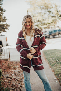 Cabin Fever Striped Pocketed Cardigan