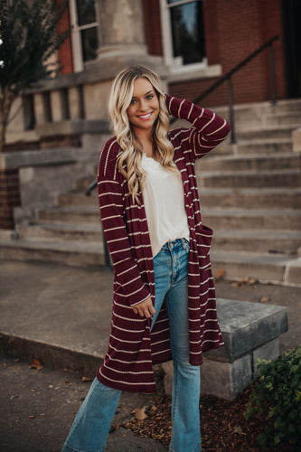 Believe In Yourself Striped Thermal Cardigan