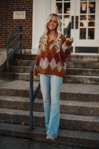 Crazy In Love Argyle Sweater- Camel
