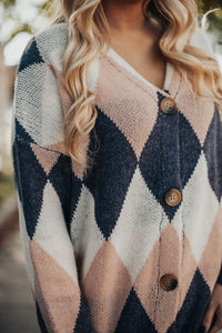 Crush On You Argyle Cardigan Sweater- Ivory