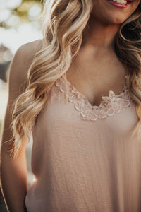 Fierce and Fab Lace Cami Tank - Blush