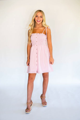 Fun In The Sun Smocked Dress - Pink