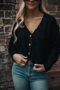 Woodsy Cardigan Sweater- Black