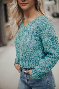 I'm Yours Crop Sweater- Sea Blue