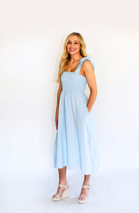 Make Way Smocked Tie Dress-Light Blue