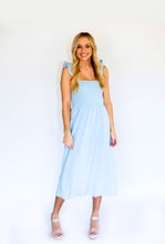 Load image into Gallery viewer, Make Way Smocked Tie Dress-Light Blue