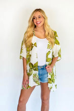 Load image into Gallery viewer, Tropical Print Kimono- White