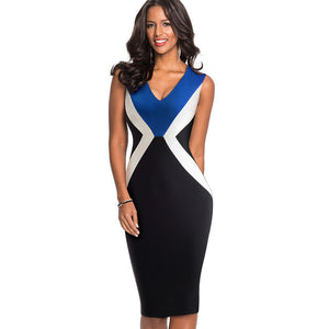 6d08f63c7fff Nice-forever Vintage Elegant Optical Illusion ColorBlock Wear to Work  vestidos Business Bodycon Sheath Woman