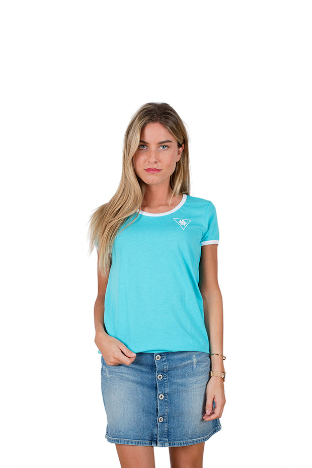 <li> Short sleeve and light material T-shirt for women 5.6 ounces</li> <li> Regular fit</li> <li> The model is 5.4 foot tall and wears a size M</li> <li> Turquoise with a quality white print</li> <li> 50% cotton 50% polyester</li>