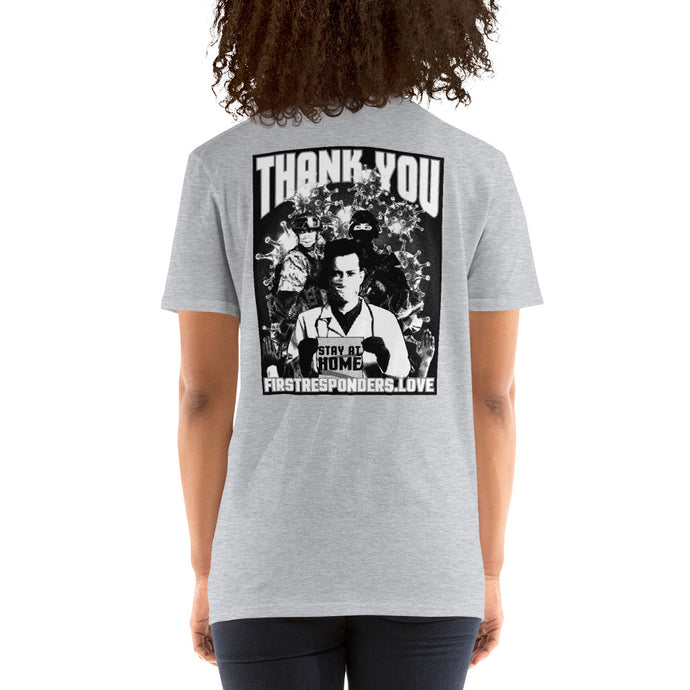 Nikko Abando Thank You First Responders T- Shirt Back Grey