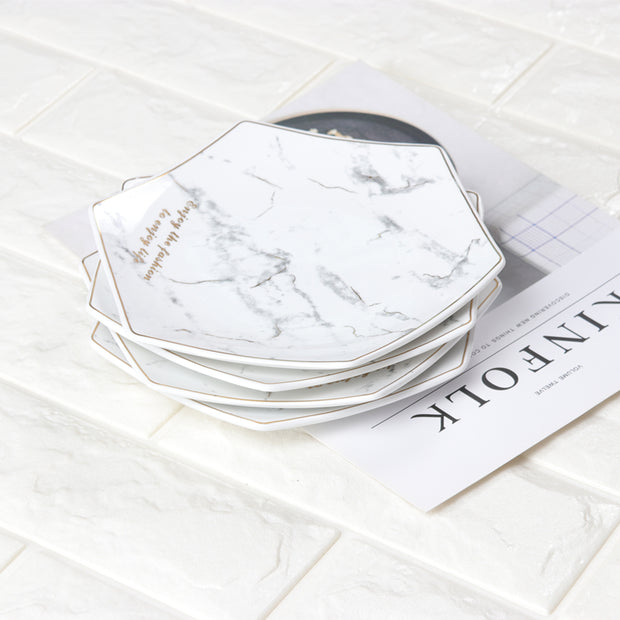 1 PCS 7.5 Inch Northern European Wind Ceramic Marble Plate