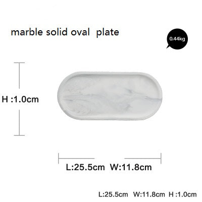 1PC Ceramic White Marble Oval Plate