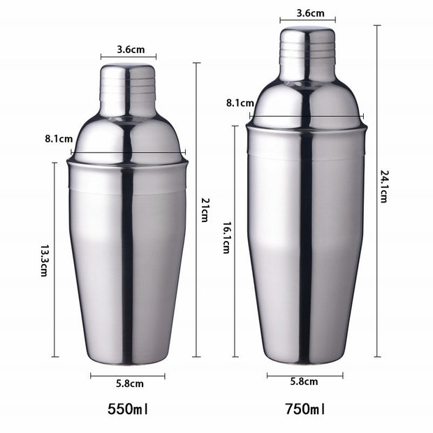 250/350/550/750ml Stainless Steel Cocktail Shaker
