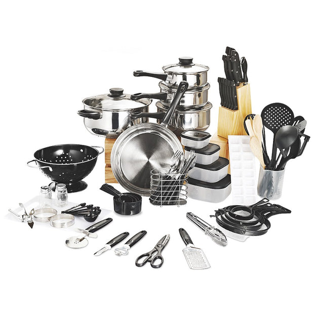 Stainless Steel Cookware 80 Piece Kitchen Starter Combo
